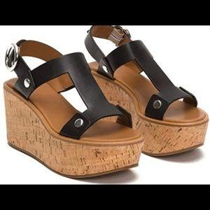 Frye Dahlia Rivet Leather Wedge Sandals